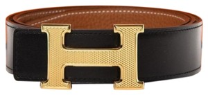 Hermès H Guillochee Buckle & Reversible Leather Strap 32 Mm Belt