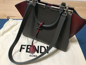 Fendi 3 Jours Leather Shopping Satchel in Carbone+Ribes+P