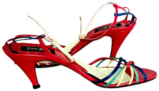 Neiman Marcus Basically RED with yellow, navy, green accents Sandals Image 0