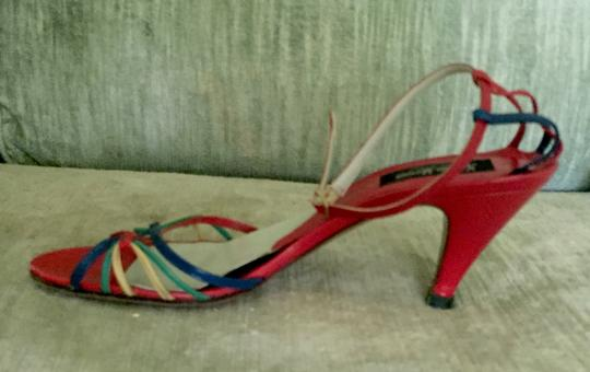 Neiman Marcus Basically RED with yellow, navy, green accents Sandals Image 4