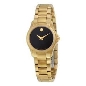 Movado Masino Black Dial Gold Tone Pvd Ss Ladies Watch