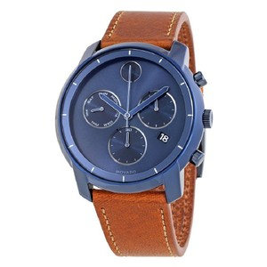 Movado Bold Ink Sunray Blue Dial Men's Chronograph Brown Leather Watch