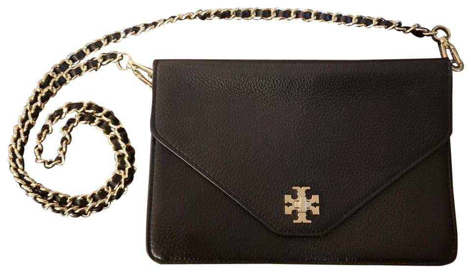 fff42ba400995 Tory Burch Envelope Black Leather Cross Body Bag - Tradesy
