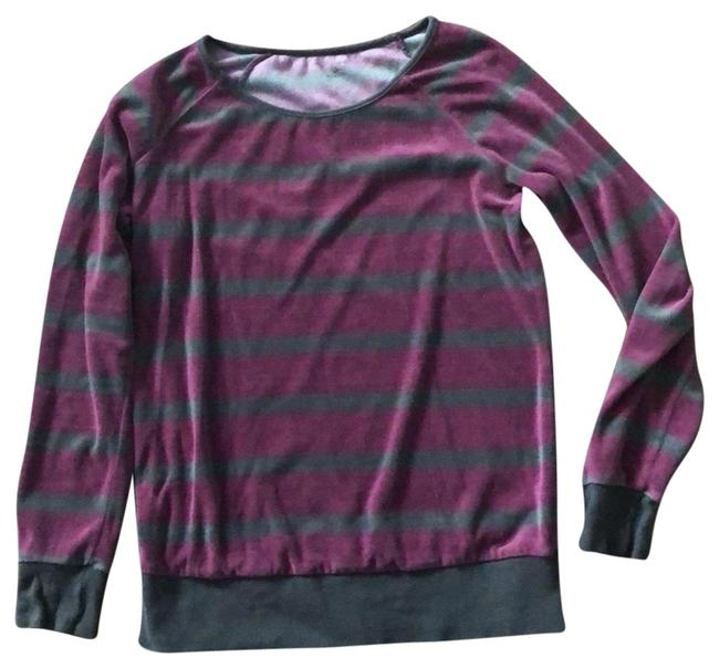 Item - Burgundy and Gray Velour Striped Maternity Top Size 6 (S)
