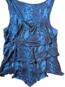Express Ruffled Blouse Top Blue