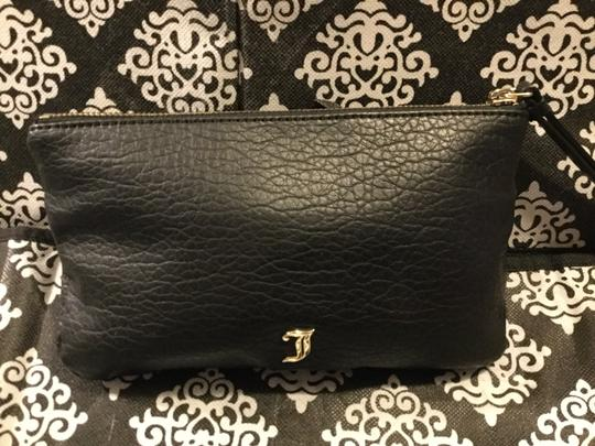 Juicy Couture Lettering Logo J Logo On Leather Studded Gold Hardware Black Clutch Image 2