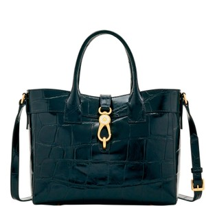 Dooney & Bourke Amelie Croco Emb Leather Satchel Tote in Espresso