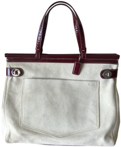Coach Tote in Taupe/burgundy