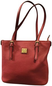 Anne Klein Leather Logo Studded Poke-a-dot Inside Gold Hardware Tote in Red