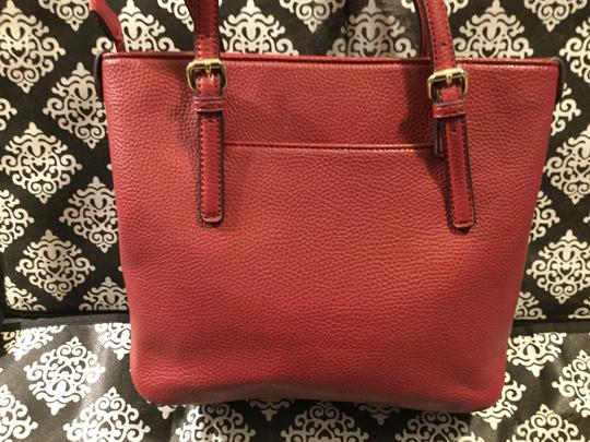 Anne Klein Leather Logo Studded Poke-a-dot Inside Gold Hardware Tote in Red Image 1
