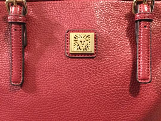 Anne Klein Leather Logo Studded Poke-a-dot Inside Gold Hardware Tote in Red Image 2