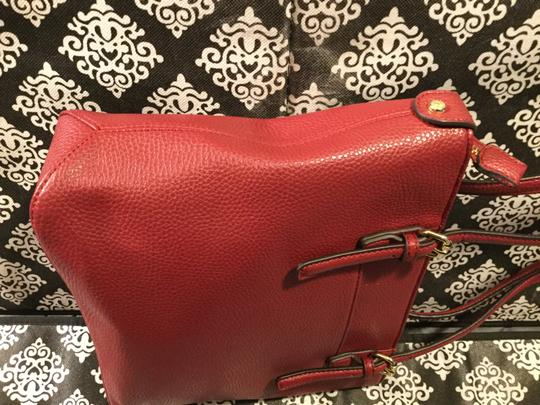 Anne Klein Leather Logo Studded Poke-a-dot Inside Gold Hardware Tote in Red Image 3