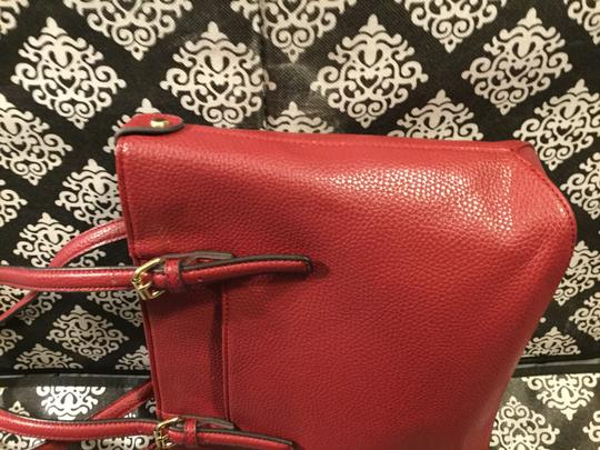 Anne Klein Leather Logo Studded Poke-a-dot Inside Gold Hardware Tote in Red Image 4