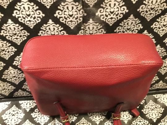 Anne Klein Leather Logo Studded Poke-a-dot Inside Gold Hardware Tote in Red Image 5