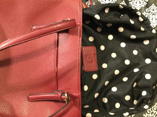 Anne Klein Leather Logo Studded Poke-a-dot Inside Gold Hardware Tote in Red Image 6