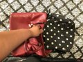 Anne Klein Leather Logo Studded Poke-a-dot Inside Gold Hardware Tote in Red Image 7