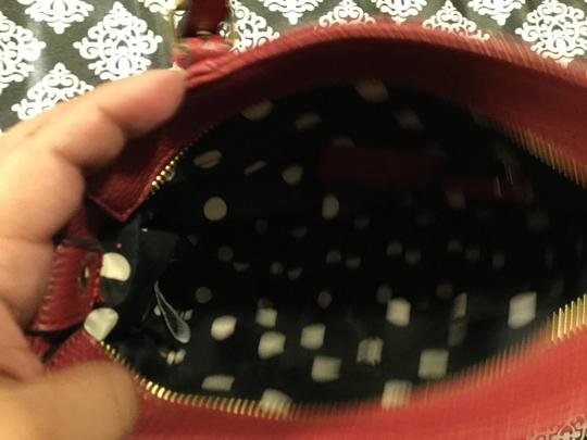 Anne Klein Leather Logo Studded Poke-a-dot Inside Gold Hardware Tote in Red Image 9