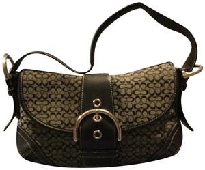 Coach Monogram Canvas Leather Jacquard Signature Silver Hardware Satchel in Black and Gray
