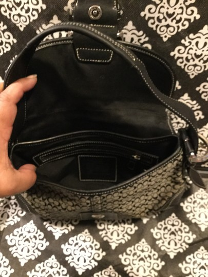 Coach Monogram Canvas Leather Jacquard Signature Silver Hardware Satchel in Black and Gray Image 1