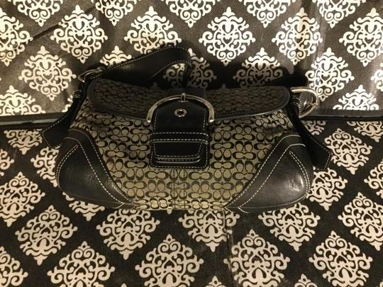 Coach Monogram Canvas Leather Jacquard Signature Silver Hardware Satchel in Black and Gray Image 2