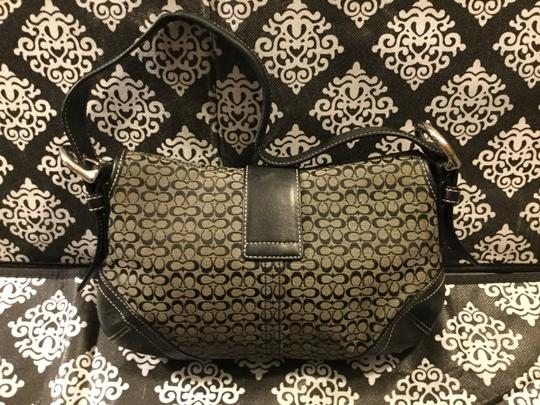 Coach Monogram Canvas Leather Jacquard Signature Silver Hardware Satchel in Black and Gray Image 4