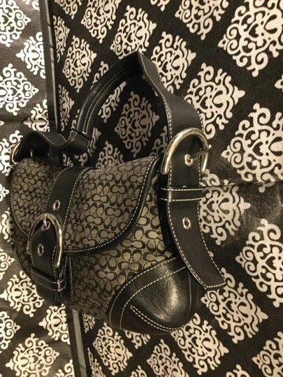 Coach Monogram Canvas Leather Jacquard Signature Silver Hardware Satchel in Black and Gray Image 7