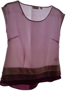 New York & Company Flowy Light Color-blocking Sleeveless Top Pink