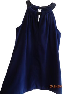 The Limited High Neck Cut-out Satiny Blue Halter Top