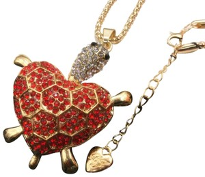 ? Rhinestone heart turtle necklace - see details