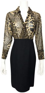 Donna Degnan Animal Print Multi Media Empire Waist Chiffon Dress