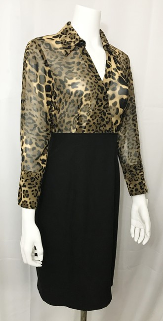 Donna Degnan Animal Print Multi Media Empire Waist Chiffon Dress Image 1