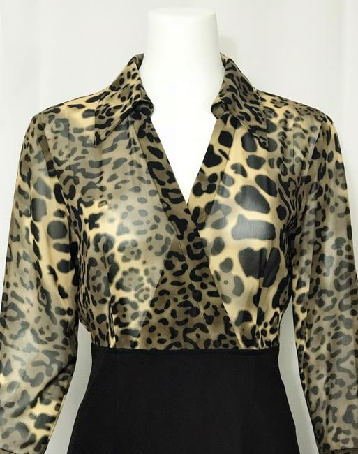 Donna Degnan Animal Print Multi Media Empire Waist Chiffon Dress Image 4