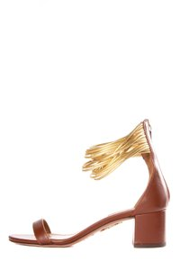 Aquazzura Brown & Gold Sandals