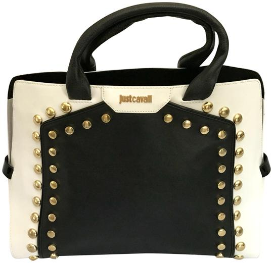 Preload https://img-static.tradesy.com/item/23435795/roberto-cavalli-justcavalli-studdied-collection-black-and-white-leather-satchel-0-1-540-540.jpg