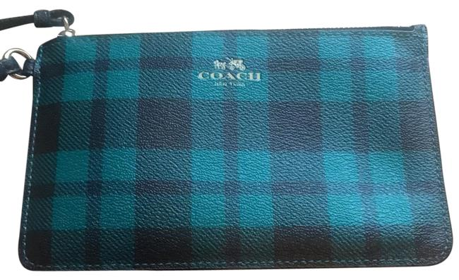 Item - Plaid Green and Black Leather Wristlet