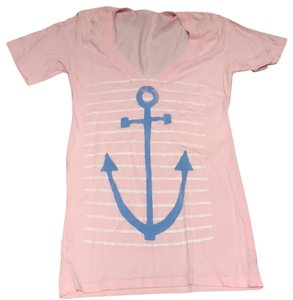 Junk Food Anchor Blue T Shirt Pink