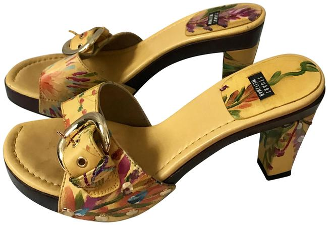 Item - Yellow Floral Slip On Embroidered Mules/Slides Size US 7.5 Regular (M, B)