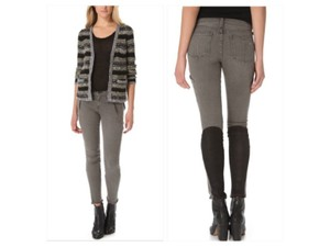 Rag & Bone Moto Suede Accent Panels Stretch Black Suede Details Daphne Browell Skinny Jeans