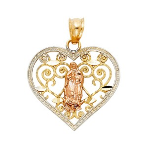 Top Gold & Diamond Jewelry 14K Yellow White Rose Gold Religious Guadalupe Pendant