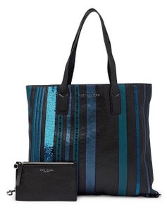 Marc Jacobs Sequin Leather Shopper Shoulder Tote in Teal Blue