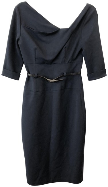 Item - Navy Belted Pencil Mid-length Night Out Dress Size 2 (XS)