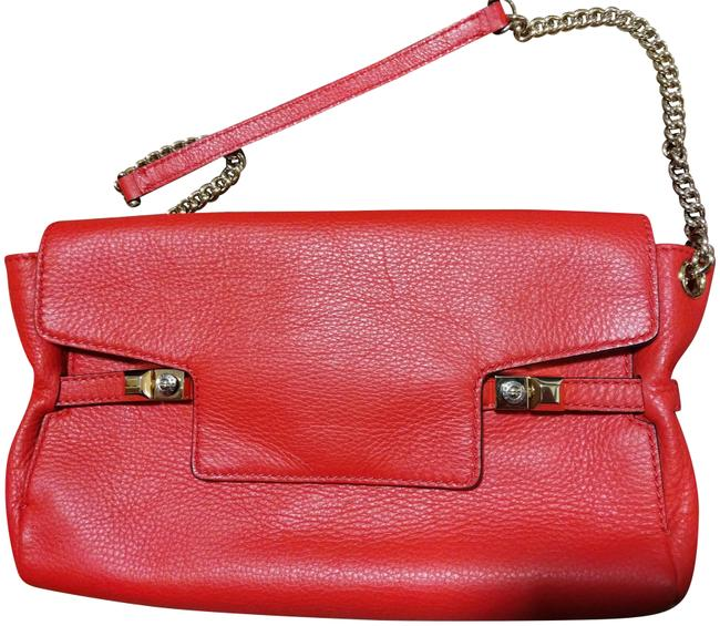 Item - Handcrafted Envelope with Golden Chain Bright Coral Leather Clutch