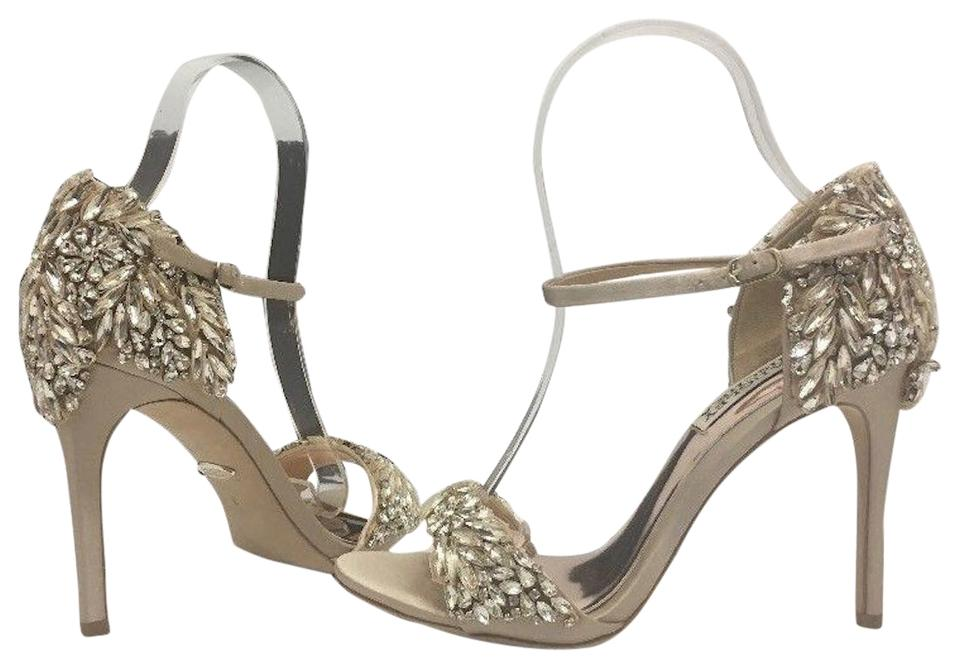 Badgley Mischka High Heels Evening Heels Sandals Size 6 Nude Satin Formal  Image 0 ...
