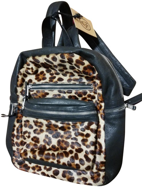 Item - Animal Print Ponihair Black Brown Yellow Leather Backpack