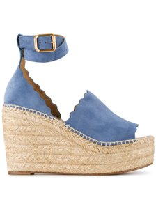 Chloé Lauren Stiletto Platform Ankle Strap blue Wedges