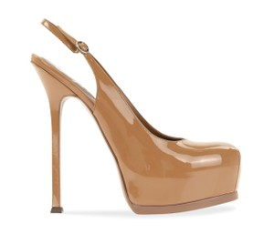 Saint Laurent Tribtoo Tribute Platform Stiletto Classic Beige Pumps