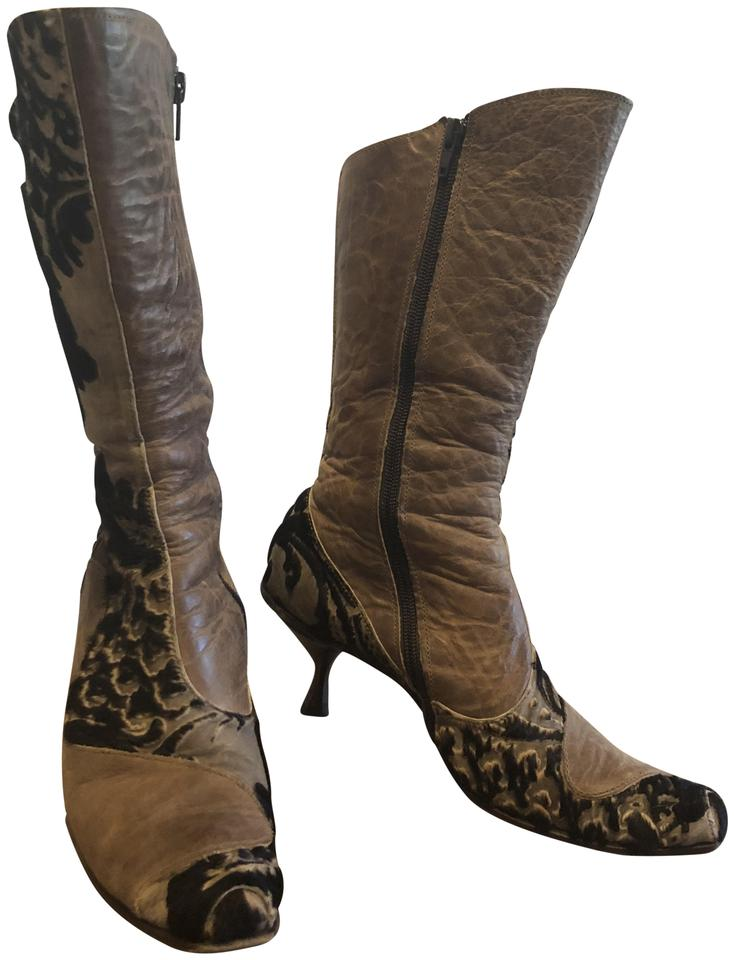 Taupe Leather with Dark Handel Gray Velvet Jacquard Handel Dark Boots/Booties 8486c7