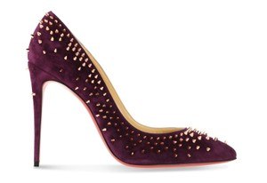 Christian Louboutin Suede Leather Rose Gold Purple Pumps