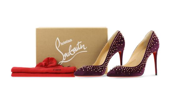 Christian Louboutin Suede Leather Rose Gold Purple Pumps Image 11