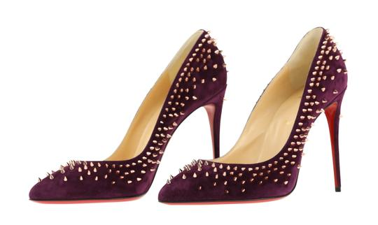 Christian Louboutin Suede Leather Rose Gold Purple Pumps Image 3